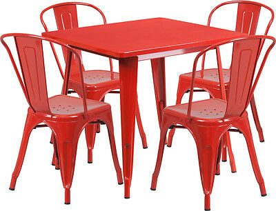 31.5'' Square Red Metal Restaurant Table Set With 4 Stack Chairs