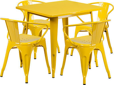 31.5'' Square Yellow Metal Restaurant Table Set With 4 Arm Chairs