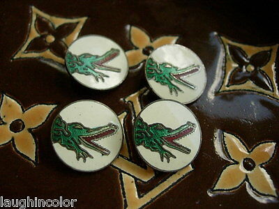 RARE Vintage GUCCI Enamel Figural BUTTONS Couture Statement Jewelry 4 pieces GG