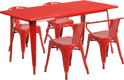 31.5'' X 63'' Rectangular Red Metal Restaurant Table Set With 4 Arm Chairs