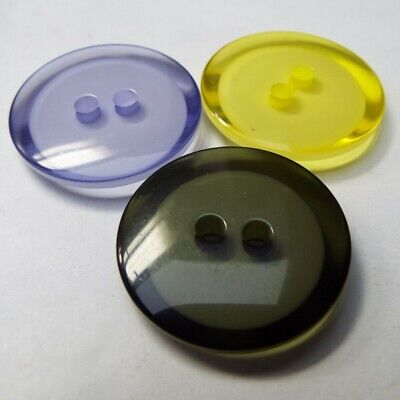 Lovely Transparent Coloured Buttons. 22, 25mm. Clear Retro Vintage Buy 2 4 8 16