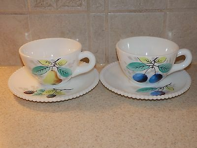 Westmoreland Milk Glass Beaded Fruit 2 Cup & Saucer Sets