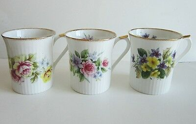 3 Royal Heritage Floral Tea Coffee MUGS Cups Bone China UK Roses Violets