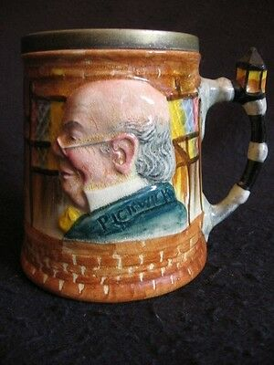 VINTAGE HAND-PAINTED L&S 'DICKENS' THEMED TANKARD-MICAWBER/PICKWICK/HEEP 50's EX