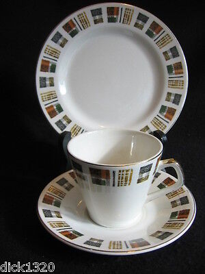 RETRO FAB LORD NELSON POTTERY 'FABRIC CHECK'  CUP/SAUCER/PLATE TRIO c.60's EX