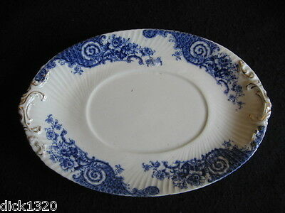 "VICTORIAN BRIDGWOOD BLUE & WHITE FLORAL SWIRLED 8"" TUREEN UNDERPLATE ONLY 1870's"