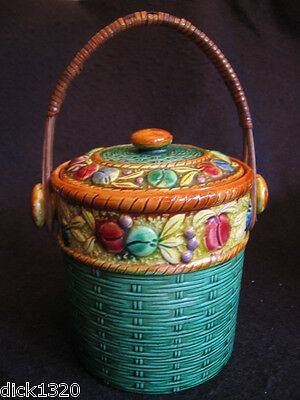 ART DECO JAPANESE MAJOLICA BISCUIT JAR RAISED FRUIT DECORATION LID & HANDLE 30's