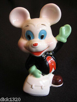 """VINTAGE CERAMIC MONEYBOX HAND-PAINTED 7.5"""" 'CARTOON MOUSE' CHINESE c.70's EX"""