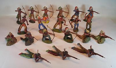 Elastolin Masse Figuren Wildwest Indianer Konvolut mit 20 Indianern #108