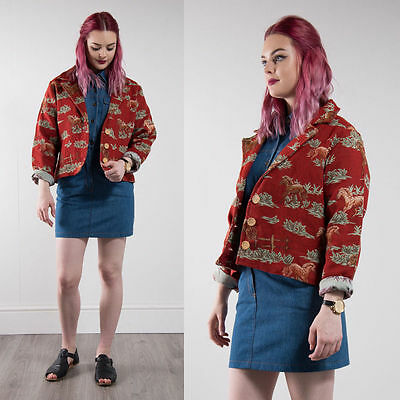 Vintage Horse Tapestry Jacket Blazer Oversize Red Western Style Casual 16