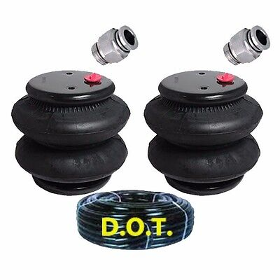 """two new standard 2600 air bags 3/8""""npt port ride springs suspension/25' airline"""