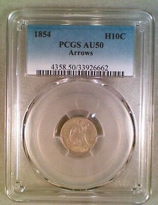 1854 With Arrows Seated Liberty Silver Half Dime PCGS AU50