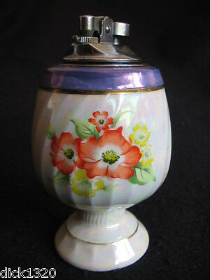 Vintage Table Cigarette Lighter Decorated Pottery Marked Japan