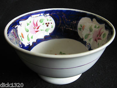 "VICTORIAN GAUDY WELSH HAND-PAINTED COLUMBINE PATTERN 6.5"" SLOP BOWL c.1840"
