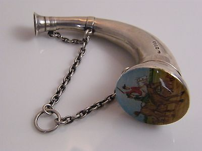 Antique Sampson Mordan Viniagrette/perfume Horn Shaped Enamel Hunt Scene