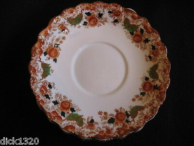 """EDWARDIAN J.H.COPE HAND-PAINTED 9"""" CHINA BREAD/CAKE PLATE Rust Floral c.1906+"""