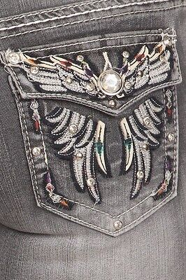 Ladies Boot Cut Jeans Denim Couture Butterfly Rhinestone Bling Blingy Pockets