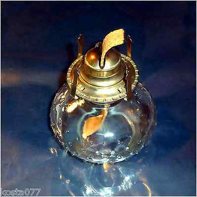Vintage Beaded Clear Glass Oil Lamp Base with Burner, LAMPLIGHT FARMS