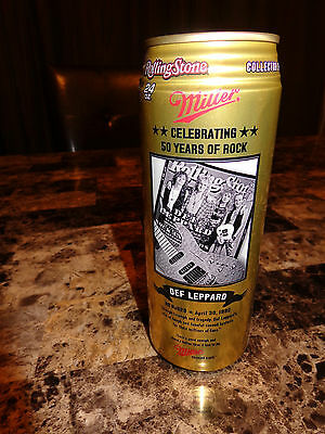 Def Leppard Promo Beer Can Miller MGD Authentic RARE Rolling Stone 50th Of Rock