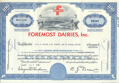 USA Amerika Foremost Dairies alte Aktie 1966 old share dekorativ