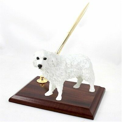 Realistic Elegant Hand Painted Great Pyrenees Figurine on Desk Pen Holder