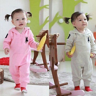 Newborn Baby Girls Kids Clothes Long Sleeves Rompers Polo Playsuit Outfits 6-24M