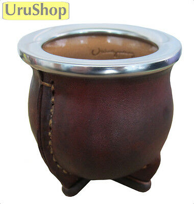 M132 Small Ceramic/leather Cup For Yerba Mate Antiacid Flat Rim