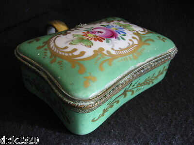 ANTIQUE SEVRES PORCELAIN HAND-PAINTED SUGAR BOX HINGED LID c.1800's J-F Micaud?