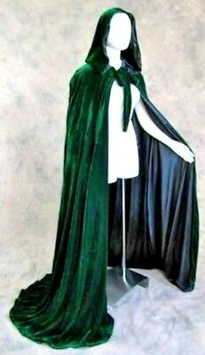 50 in Lined Dark Green Velvet Cosplay Cloak Cape Wicca LOTR Game of Thrones GOT