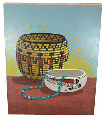 Retail Tag $350 Navajo Authentic  Acrylic Basket Native American Painting