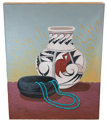 Retail Tag $350 Navajo Authentic Pot  Acrylic Native American Painting