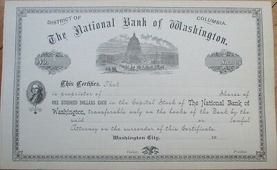 1900 Stock Certificate: National Bank of Washington, DC - Capitol - DOC