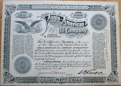 1902 Oil Bearer Stock Certificate: 'Anglo American Oil Co.' - Beaumont, Texas TX