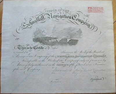 1830 Shipping Stock Certificate: 'Schuylkill Navigation Company'