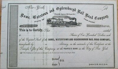 1860s Railroad Stock Certificate: Rome, Watertown & Ogdensburg Rail Road Co.- NY