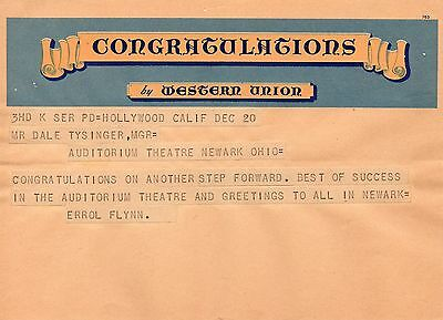 Rare Telegram 1947 Errol Flynn Hollywood to Theatre in Newark OHIO CLASSIC ACTOR