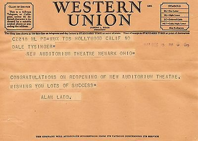 Rare Telegram 1947 Alan Ladd Hollywood to Theatre in Newark OHIO CLASSIC ACTOR