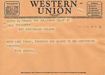 Rare Telegram 1947 Bing Crosby Hollywood to Theatre in Newark OHIO LEGEND ACTOR