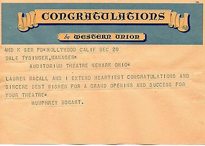 Rare Telegram 1947 Humphrey Bogart Lauren Bacall Hollywood to Theatre in Newark