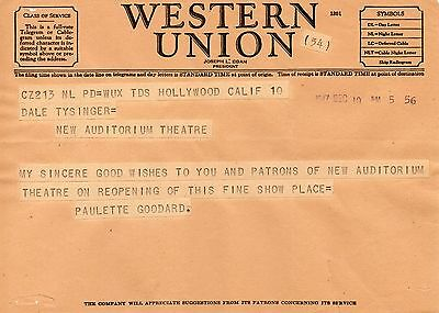 Rare Telegram 1947 Paulette Goodard Hollywood to Theatre in Newark OH GOLDEN DAY