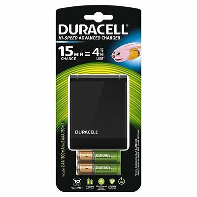 Duracell 45 Minute Fast Battery Charger with 2 AA 2 AAA Rechargeable Batteries