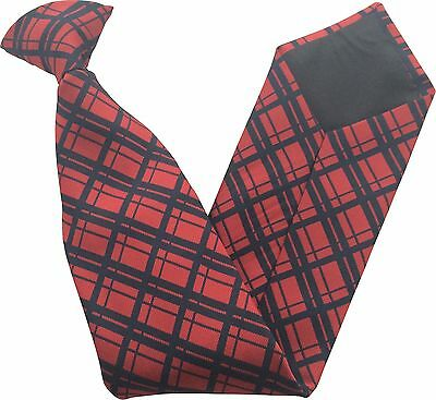 Red with Navy Check Stripe Security Guard or Bouncer Clipper Clip On Snapper Tie