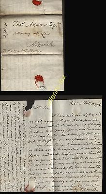 1795 FELTON NORTHUMB. LETTER, RObt ALNWICK TO THOS. ADAMS, ALNWICK, RE STROTHER