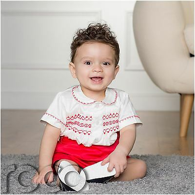 Boys Ivory Shortie, Christening Romper, Prince George, Ivory & Red Shortie