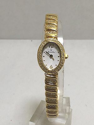 Women's Bulova 97V23 Gold Tone Stainless And Crystal Accented MOP Dial Watch