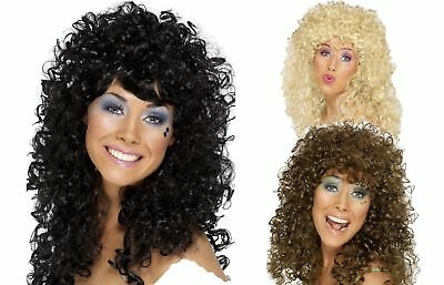 70s 80s Boogie Babe Wig Blonde Brown Black Ladies Curly Fancy Dress Accessory