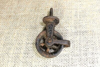 "old screw Pulley 1 1/2"" spoke wheel cast iron vintage antique rustic paint"
