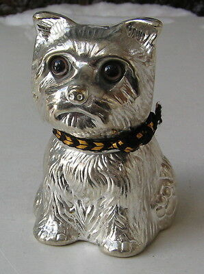 Vintage Cairn Terrier Silverplated Puppy Bank