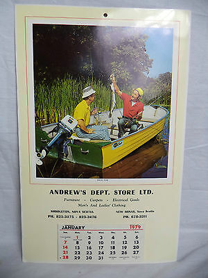 ANDREW'S DEPT STORE Middleton NS Nova Scotia Calendar 1979 Pike Fishing Men