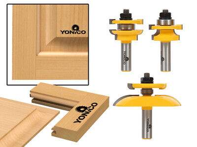 "Round Over 3 Bit Cabinet Door Router Bit Set - 1/2"" Shank - Yonico 12343"